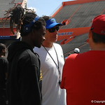 OC Doug Nussmeier and WR Cavin Ridley chat before the Florida Gators football camp on June 6th, 2015. Gator Country photo by Kassidy Hill.