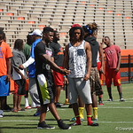 Chauncey Gardner and Aaron Robinson chat before the Florida Gators football camp on June 6th, 2015. Gator Country photo by Kassidy Hill.