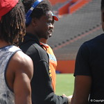 Aaron Robinson and Lavarus Tigner watching the Florida Gators football camp on June 6th, 2015. Gator Country photo by Kassidy Hill.