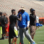 Defensive line coach Chris Rumph and CB Chauncey Gardner chat before the Florida Gators football camp on June 6th, 2015. Gator Country photo by Kassidy Hill.