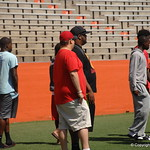 Andrew Spivey chats with Deerfield football coaches before the Florida Gators football camp on June 6th, 2015. Gator Country photo by Kassidy Hill.