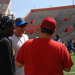 OC Doug Nussmeier and CB Lavarus Tigner chat before the Florida Gators football camp on June 6th, 2015. Gator Country photo by Kassidy Hill.