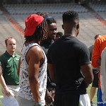 Aaron Robinson, Lavarus Tigner and Chauncey Gardner chat before the Florida Gators football camp on June 6th, 2015. Gator Country photo by Kassidy Hill.