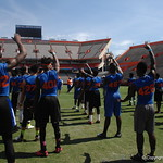 Prospects learning how to do the chomp before the Florida Gators football camp on June 6th, 2015. Gator Country photo by Kassidy Hill.