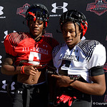 University of Florida Gators recruit quarterback Emory Jones and University of Florida Gators recruit wide receiver Jacob Copeland during the first day of practice for the 2017 Under Armour All-America High School Football Game at the ESPN Wide World of Sports in Orlando, Florida  December 31st, 2017. Gator Country photo by David Bowie.