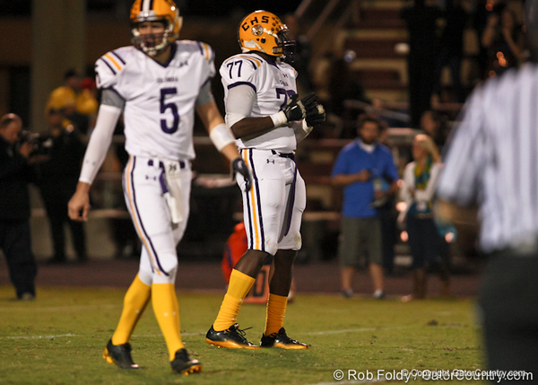 during the Columbia HS Tigers' 24-9 win against the St. Augustine HS Yellow Jackets on Friday, Nov 18 in St. Augustine, Fla / GatorCountry photo by Rob Foldy