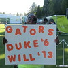 Duke Dawson's mom and the sign she made for Duke and Will