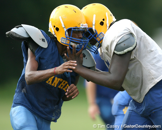 Palatka senior tight end Keyshawn Hamilton works out during the Panthers' football practice on Monday, August 24, 2009 at Palatka High School in Palatka, Fla. / Gator Country photo by Tim Casey