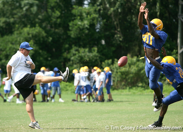 Palatka coach Kyle Rice gives instructions during the Panthers' football practice on Monday, August 24, 2009 at Palatka High School in Palatka, Fla. / Gator Country photo by Tim Casey