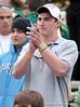 Florida quarterback John Brantley cheers during the Pahokee/Trinity Catholic state championship game.