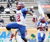 RB Vincent Smith celebrates after his 15-yard TD run with 3:02 remaining in the second quarter put Pahokee up 13-7, during the FHSAA Class 2B final on December 13, 2008.