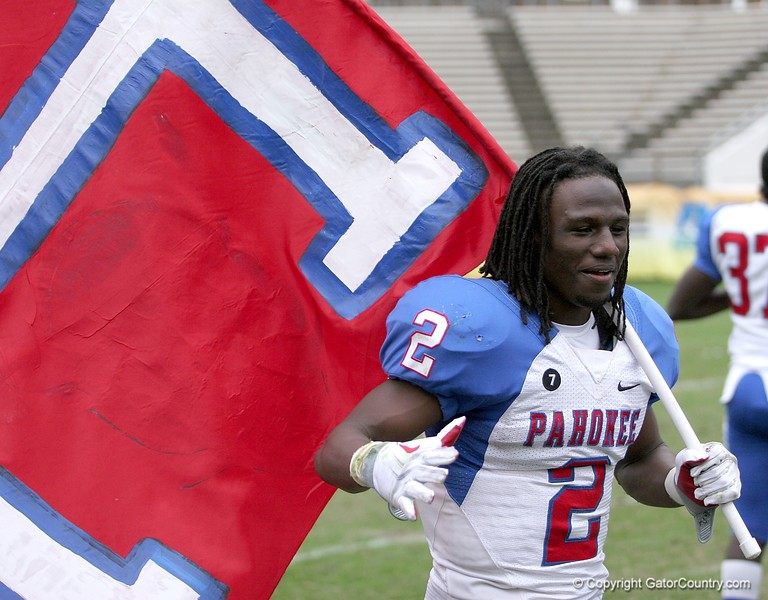 Vincent Smith of Pahokee celebrates after the Blue Devis took the FHSAA Class 2B final 21-17 over Trinity Catholic on December 13, 2008.