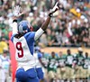Dexter Holmes of Pahokee celebrates after the Blue Devis took the FHSAA Class 2B final 21-17 over Trinity Catholic on December 13, 2008.
