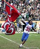 Donald Johnson of Pahokee celebrates after the Blue Devis took the FHSAA Class 2B final 21-17 over Trinity Catholic on December 13, 2008.