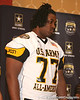 St. Paul, Minn. (Cretin-Derhim HS) offensive lineman Seantrel Henderson is introduced at a press conference after the fourth day of practice for the U.S. Army All-American Bowl on Thursday, January 7, 2010 at the Grand Hyatt Hotel in San Antonio. / Gator Country photo by Tim Casey