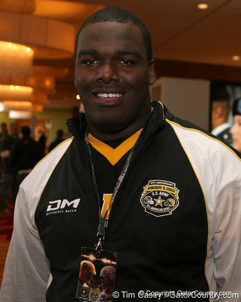 Warner Robins, Ga. (Warner Robins HS) defensive tackle Jeff Whitaker poses for a photo after the fourth day of practice for the U.S. Army All-American Bowl on Thursday, January 7, 2010 at the Grand Hyatt Hotel in San Antonio. / Gator Country photo by Tim Casey