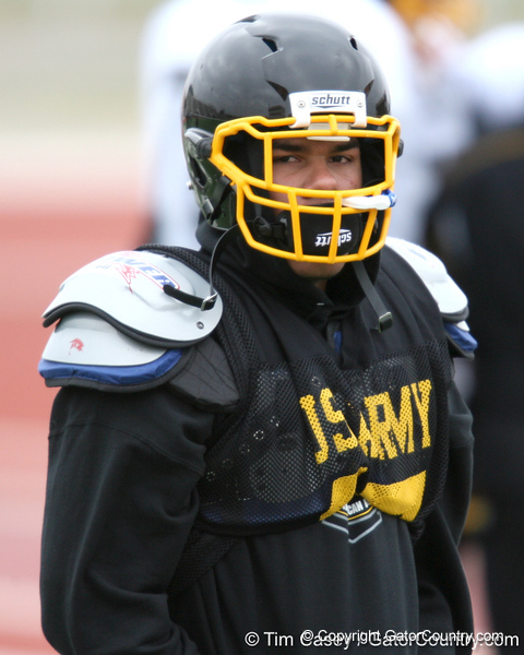 Aurora, Colo. (Grandview HS) linebacker Chris Martin works out during the East team's fourth day of practice for the U.S. Army All-American Bowl on Thursday, January 7, 2010 at Gustafson Stadium at the Hardin Athletic Complex in San Antonio. / Gator Country photo by Tim Casey