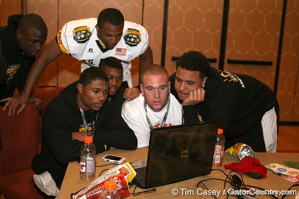 Players participate in a web chat after the fourth day of practice for the U.S. Army All-American Bowl on Thursday, January 7, 2010 at the Grand Hyatt Hotel in San Antonio. / Gator Country photo by Tim Casey