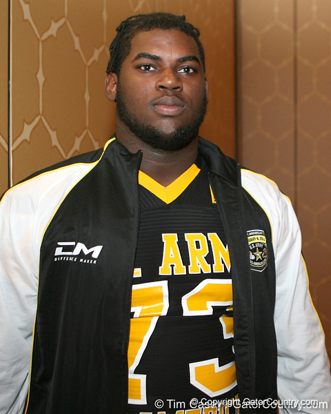 Philadelphia (Washington HS) defensive tackle Sharrif Floyd poses for a photo after the fourth day of practice for the U.S. Army All-American Bowl on Thursday, January 7, 2010 at the Grand Hyatt Hotel in San Antonio. / Gator Country photo by Tim Casey