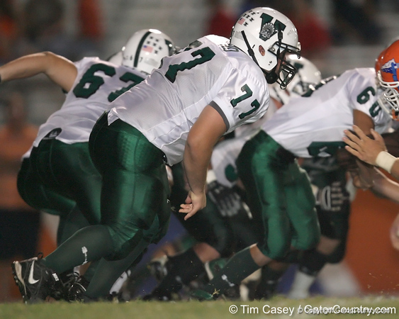 Venice High School sophomore tackle Michael Friend lines up during the Venice Indians' 34-10 win against the Southeast Seminoles on Friday, October 2, 2009 at John Kiker Memorial Stadium in Bradenton, Fla. / Gator Country photo by Tim Casey