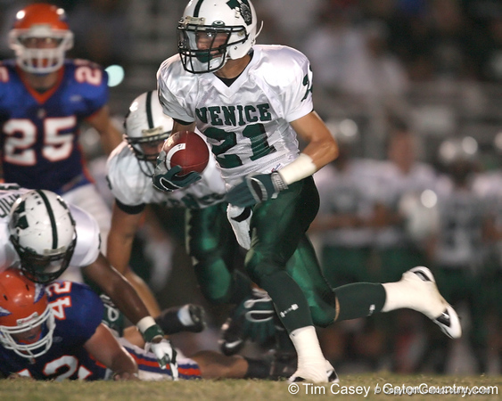 Venice High School junior Josh Boyle carries the ball during the Indians' 34-10 win against the Southeast Seminoles on Friday, October 2, 2009 at John Kiker Memorial Stadium in Bradenton, Fla. / Gator Country photo by Tim Casey