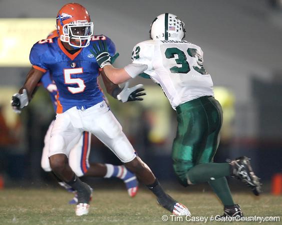 Southeast High School senior Jonathan Dowling (5) blocks a linebacker during the Venice Indians' 34-10 win against the Seminoles on Friday, October 2, 2009 at John Kiker Memorial Stadium in Bradenton, Fla. / Gator Country photo by Tim Casey