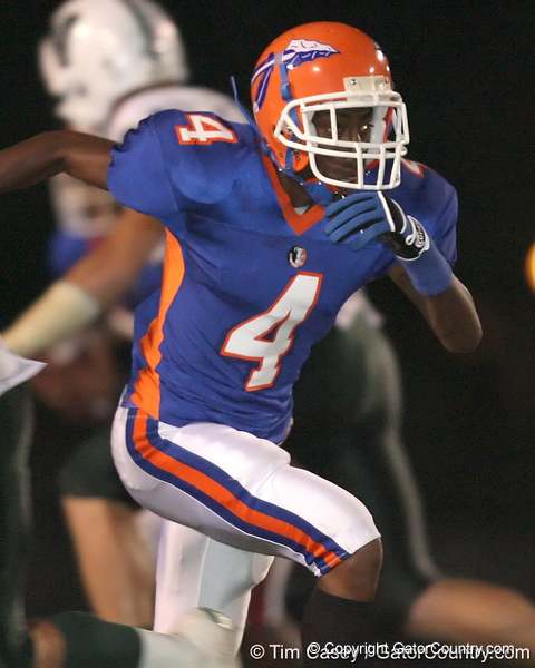 Southeast High School junior wide receiver Adrian Richard runs a pass route during the Venice Indians' 34-10 win against the Seminoles on Friday, October 2, 2009 at John Kiker Memorial Stadium in Bradenton, Fla. / Gator Country photo by Tim Casey