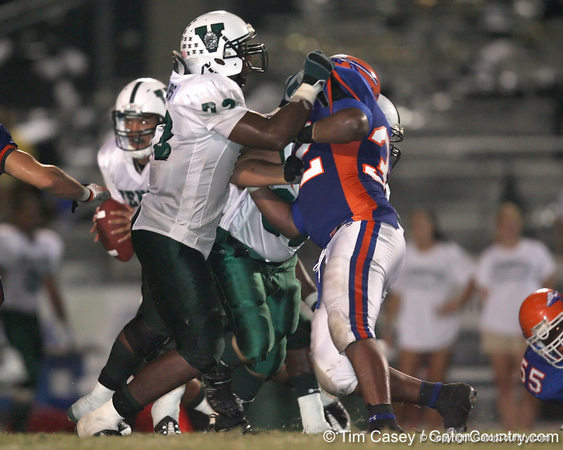 Venice High School sophomore tackle Omari Phillips blocks during the Venice Indians' 34-10 win against the Southeast Seminoles on Friday, October 2, 2009 at John Kiker Memorial Stadium in Bradenton, Fla. / Gator Country photo by Tim Casey
