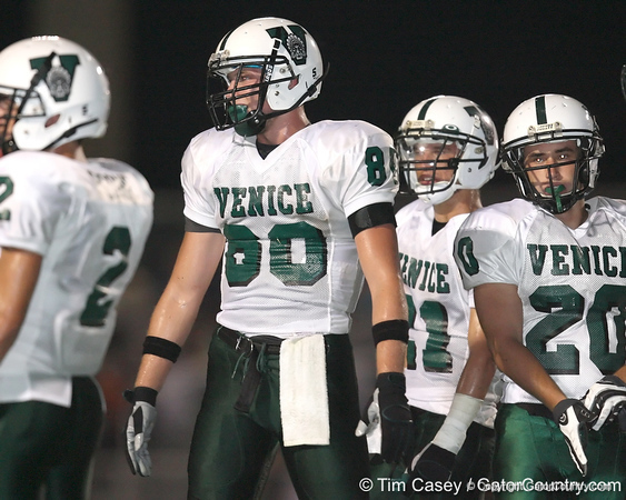Venice High School senior tight end Beckett Wales lines up during the Venice Indians' 34-10 win against the Southeast Seminoles on Friday, October 2, 2009 at John Kiker Memorial Stadium in Bradenton, Fla. / Gator Country photo by Tim Casey