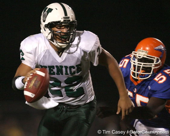 Venice High School senior Trey Burton (22) runs away from a defender during the Indians' 34-10 win against the Southeast Seminoles on Friday, October 2, 2009 at John Kiker Memorial Stadium in Bradenton, Fla. / Gator Country photo by Tim Casey