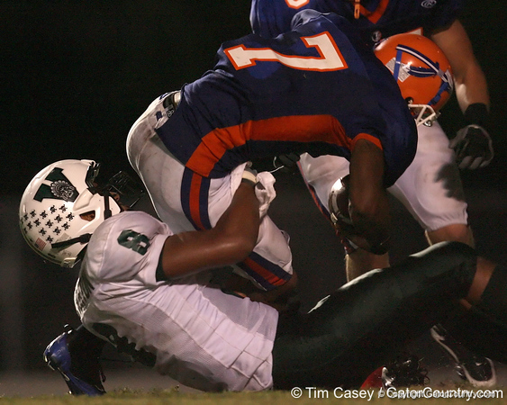 Venice High School junior Clay Burton (8) makes a tackle during the Indians' 34-10 win against the Southeast Seminoles on Friday, October 2, 2009 at John Kiker Memorial Stadium in Bradenton, Fla. / Gator Country photo by Tim Casey