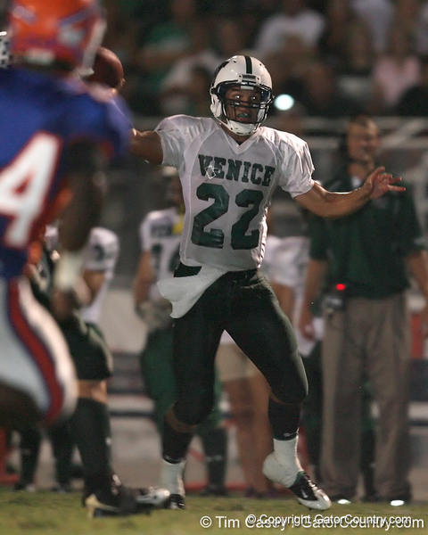 Venice High School senior Trey Burton (22) passes the ball during the Indians' 34-10 win against the Southeast Seminoles on Friday, October 2, 2009 at John Kiker Memorial Stadium in Bradenton, Fla. / Gator Country photo by Tim Casey