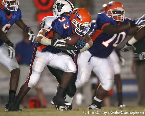 Southeast High School senior running back Waymon Bowden (33) carries the ball during the Venice Indians' 34-10 win against the Seminoles on Friday, October 2, 2009 at John Kiker Memorial Stadium in Bradenton, Fla. / Gator Country photo by Tim Casey