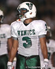 Venice High School senior Justin Grant lines up during the Venice Indians' 34-10 win against the Southeast Seminoles on Friday, October 2, 2009 at John Kiker Memorial Stadium in Bradenton, Fla. / Gator Country photo by Tim Casey