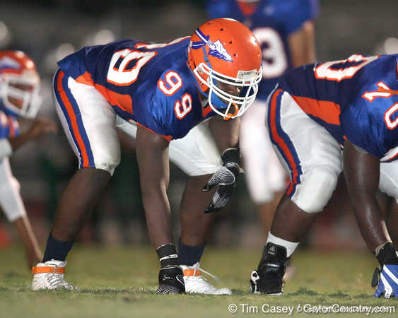 Southeast High School junior defensive lineman Giovani Francois lines up during the Venice Indians' 34-10 win against the Seminoles on Friday, October 2, 2009 at John Kiker Memorial Stadium in Bradenton, Fla. / Gator Country photo by Tim Casey