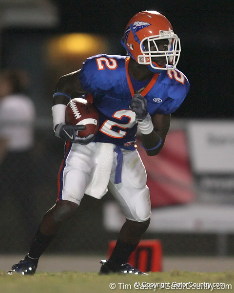 Southeast High School junior wide receiver Boe Brand runs with the ball during the Venice Indians' 34-10 win against the Seminoles on Friday, October 2, 2009 at John Kiker Memorial Stadium in Bradenton, Fla. / Gator Country photo by Tim Casey