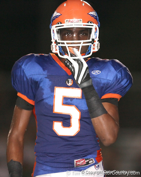 Southeast High School senior Jonathan Dowling (5) lines up during the Venice Indians' 34-10 win against the Seminoles on Friday, October 2, 2009 at John Kiker Memorial Stadium in Bradenton, Fla. / Gator Country photo by Tim Casey
