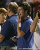 photo by Tim Casey<br /> <br /> Gator Country reporter Cody Jones reacts after Greg Reid scored on a 70-yard touchdown reception on the first play from scrimmage during the Lowndes County High School Vikings' 14-7 win against the Valdosta Wildcats in the Winnersville Classic on Friday, October 10, 2008 at Cleveland Field at Bazemore-Heyder Stadium in Valdosta, Ga.