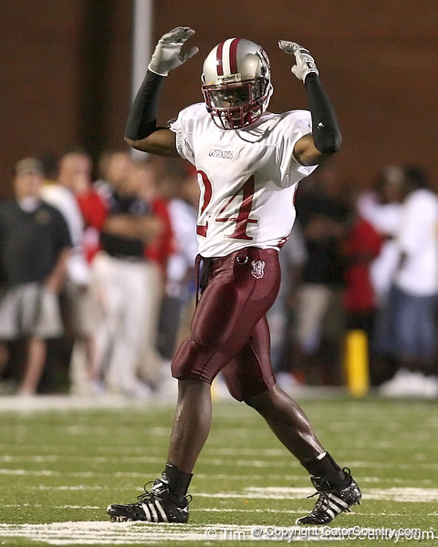 photo by Tim Casey<br /> <br /> Greg Reid pumps up the crowd during the Lowndes County High School Vikings' 14-7 win against the Valdosta Wildcats in the Winnersville Classic on Friday, October 10, 2008 at Cleveland Field at Bazemore-Heyder Stadium in Valdosta, Ga.