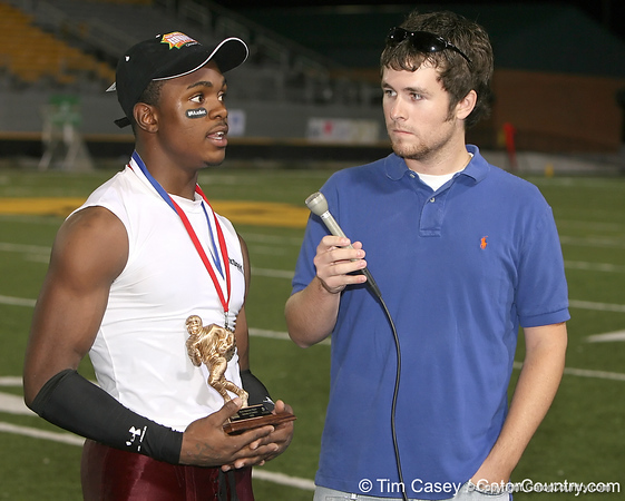 photo by Tim Casey<br /> <br /> Greg Reid speaks with Gator Country reporter Cody Jones after the Lowndes County High School Vikings' 14-7 win against the Valdosta Wildcats in the Winnersville Classic on Friday, October 10, 2008 at Cleveland Field at Bazemore-Heyder Stadium in Valdosta, Ga.