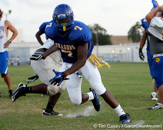 Tampa (Jefferson HS) defensive end Tyriq McCord gets past a blocker  during the Dragons' practice on Monday, August 15, 2011 at Thomas Jefferson High School in Tampa, Fla. / Gator Country photo by Tim Casey