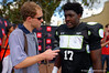 2015 high school football recruit linebacker Te'Von Coney talks with the media during the first day of practice for the 2015 Under Armour All-America High School Football Game.  2015 Under Armour All-America High School Football Game Practice Day 1.  December 29th, 2014. Gator Country photo by David Bowie.