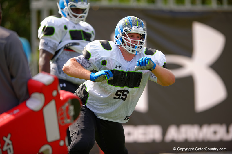 2015 high school football recruit offensive tackle Christian Pellage runs drills during the first day of practice for the 2015 Under Armour All-America High School Football Game.  2015 Under Armour All-America High School Football Game Practice Day 1.  December 29th, 2014. Gator Country photo by David Bowie.