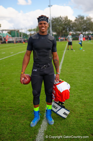 2015 high school football recruit quarterback Deondre Francois poses for the camera during the first day of practice for the 2015 Under Armour All-America High School Football Game.  2015 Under Armour All-America High School Football Game Practice Day 1.  December 29th, 2014. Gator Country photo by David Bowie.