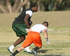 New Port Richey (Gulf HS) defensive tackle Leon Orr runs after making a catch during the New Level Athletics/ Badger Sport Pass Camp on Saturday, March 14, 2009 at the USF Campus Recreation Fowler fields in Tampa, Fla. / Gator Country photo by Tim Casey
