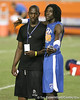 Lithonia, Ga. (King HS) running back Mack Brown and Pahokee (Pahokee HS) wide receiver Chris Dunkley talk during Friday Night Lights, a one-night football camp at the University of Florida, on Friday, July 24, 2009 at Ben Hill Griffin Stadium in Gainesville, Fla. / Gator Country photo by Tim Casey