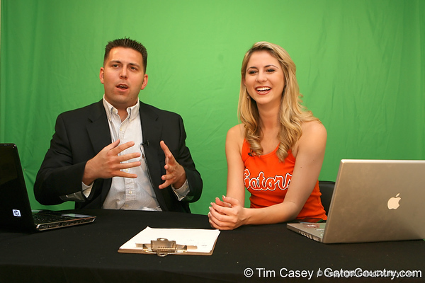 Gator Country reporters Justin Wells and Laura McKeeman cover National Signing Day at the Gator Country office on Feb. 3, 2010 in Gainesville, Fla. / Gator Country photo by Tim Casey