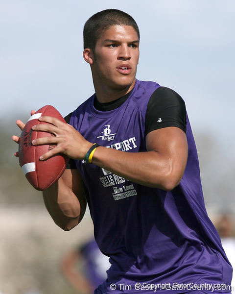 Nokomis (Venice HS) quarterback Trey Burton passes during the New Level Athletics Badger Sport Passing Camp on Saturday, March 14, 2009 at the USF Campus Recreation Fowler fields in Tampa, Fla. / Gator Country photo by Tim Casey