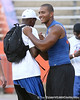 Orange Park (Fleming Island HS) offensive lineman Ian Silberman talks with a player during Friday Night Lights, a one-night football camp at the University of Florida, on Friday, July 24, 2009 at Ben Hill Griffin Stadium in Gainesville, Fla. / Gator Country photo by Tim Casey