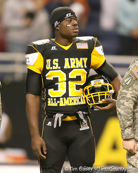Palm Beach Gardens (Dwyer HS) tight end Gerald Christian watches pre-game activities before the U.S. Army All-American Bowl on Saturday, January 9, 2010 at the Alamodome in San Antonio, Texas. / Gator Country photo by Tim Casey